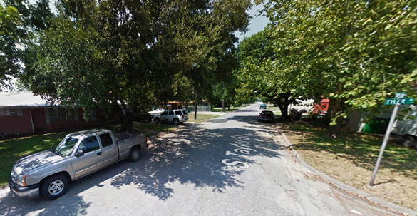 The witness said neighbors along Tyler Street in Gainesville, TX, pictured, were lined up in the street watching the large, triangle-shaped UFO on June 26, 2014. (Credit: Google Maps)