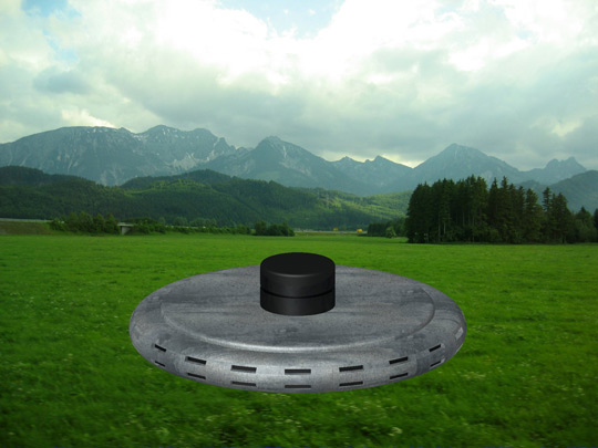 Rendering of the UFO as describe in sighting. Illistration by Michael Schratt