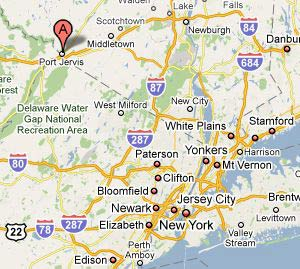 Google map of Port Jervis area.