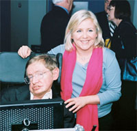 Stephen Hawking with daughter Lucy (credit: AIP)