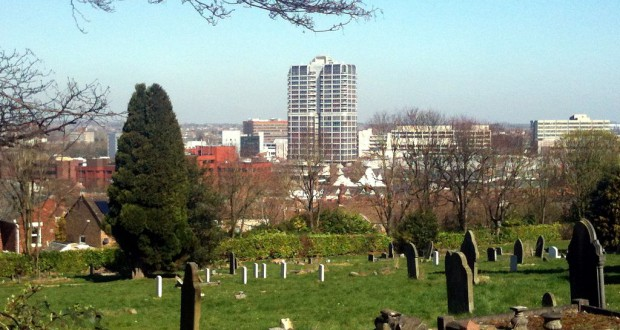The witness was at Drove Road near the Magic Roundabout Intersection with very good visibility about 8 p.m. on October 3, 2014, when the object was first seen. Pictured: Swindon town centre from Radnor Street Cemetery. (Credit: Wikimedia Commons)