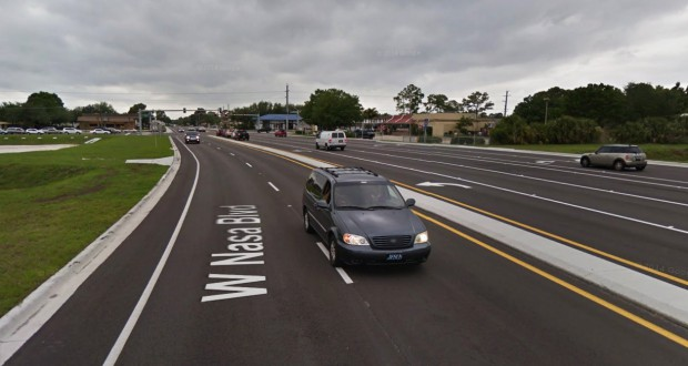 The witnesses were westbound along Nasa Road, about 200 feet from the Wickham Road intersection in West Melbourne, FL, pictured, when the object was first seen. (Credit: Google)
