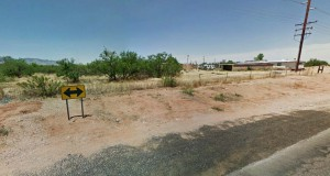 The Arizona couple stepped outside and noticed a rectangular-shaped object in a nearby field that was previously empty and fenced in. Pictured: Sierra Vista, Arizona. (Credit: Google)