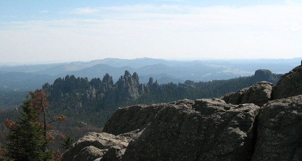 The three campers first thought the object was a plane. Pictured: The Needles from Harney Peak in Black Hills National Forest. (Credit: Jake DeGroot)