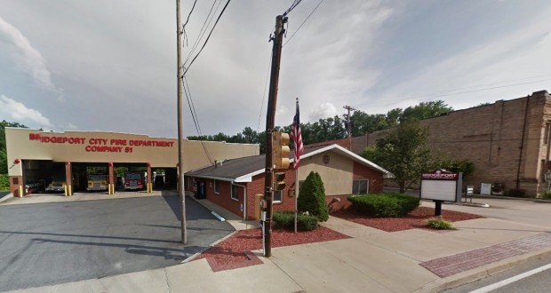 The Bridgeport, WV, witness described the UFO hovering over the fire department as gray in color, triangle-shaped with three lights at each tip. Pictured: The Bridgeport Fire Department. (Credit: Google)