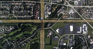 The witness first noticed the object as it was moving over the Ohio Turnpike under 150 feet. Pictured: Intersection of Route 475 and the Ohio Turnpike. (Credit: Google)