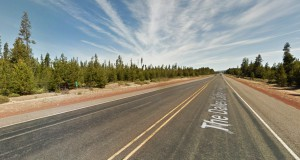 The Oregon witness saw the object at 100 feet in the air as it silently moved overhead. Pictured: Dalles-California Highway near Beaver Marsh, Oregon. (Credit: Google)