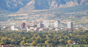 Colorado Springs with the Front Range in background. (Credit: Wikimedia Commons)