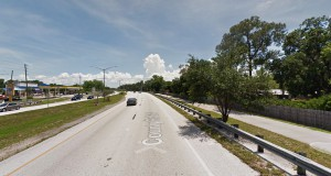 The witness was traveling along East Lake Road in Palm Harbor, FL, on February 5, 2015, when the hovering boomerang-shaped UFO was seen. Pictured: Palm Harbor, FL. (Credit: Google)