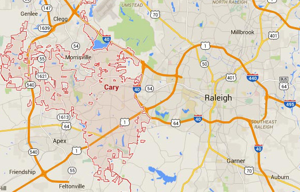 Cary sits directly west of Raleigh, NC. (Credit: Google Maps)