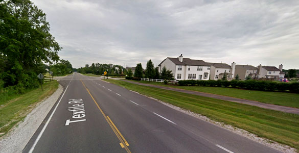 The witness first saw the hovering UFO along Textile Road in Ypsilanti, MI, near the intersection with Cherrywood Drive, pictured. (Credit: Google)