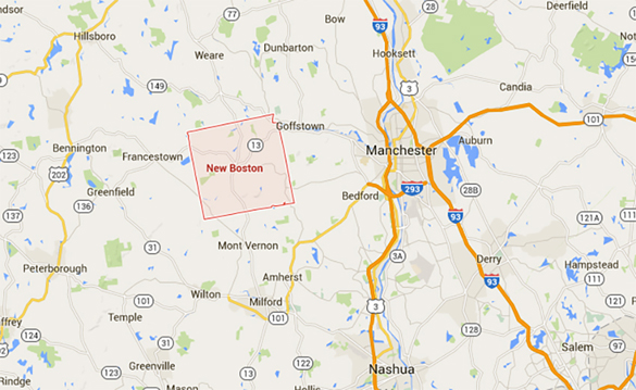 New Boston is about 15 miles directly west of Manchester, NH. (Credit: Google)