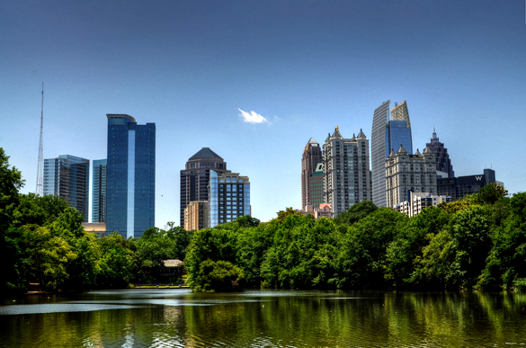 The witness was standing outside next to a vehicle in Atlanta, GA, when the driveway, yard and nearby home were engulfed in light. Pictured: Atlanta skyline. (Credit: Wikimedia Commons)