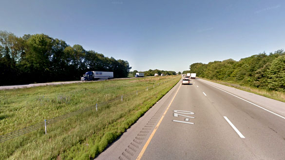 The witness first thought the object was part of a distant antenna while driving along eastbound I-70 in Greencastle, IN, pictured. (Credit: Google)