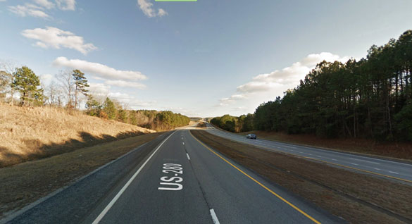 The witness first noticed the object as a distant white light as he traveled eastbound along U.S. 280 near Dadesville. Pictured: A stretch of U.S. 280 near Dadeville. (Credit: Google Maps)