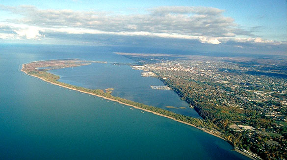 The witness said the object was hovering near Perry's Monument. Pictured: Aerial view of Presque Isle toward the east-northeast. (Credit: Wikimedia Commons)