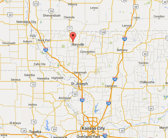 Wilcox is about 104 miles northwest of Kansas City, MO. (Credit: Google Maps)