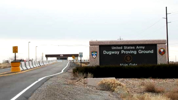 Three witnesses came upon a UFO hovering just 20 feet over the roadway near Dugway, Utah, in 1992. Pictured: Dugway Proving Ground. (Credit: Google)
