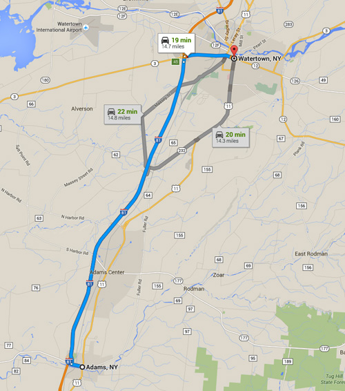 Adams, NY, is about 14 miles southwest of Watertown, along Route 11. (Credit: Google)