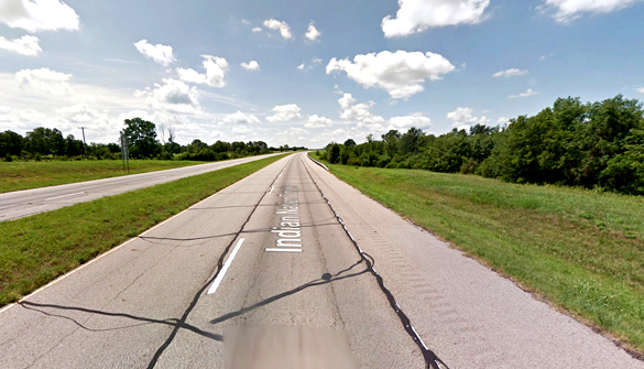 The witness first noticed a cylinder-shaped object at 500 feet overhead along Indian Nation Turnpike near Hugo, Oklahoma, pictured. (Credit: Google)