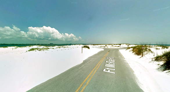 The witness described a round craft with red lights being followed by a ground-based search light on July 6, 2016. Pictured: Perdido Key, Florida, near the Pensacola Naval Air Station. (Credit: Google)