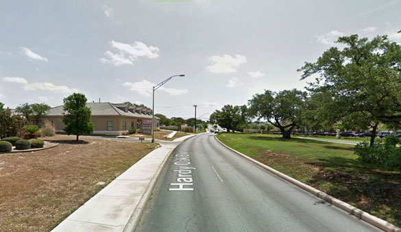 The witness saw a large, cigar-shaped UFO moving over San Antonio. Pictured: Hardy Oak Boulevard in San Antonio. (Credit: Google Maps)