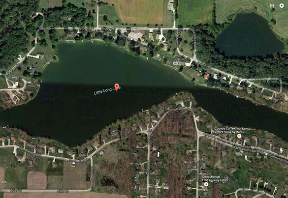 The witness first noticed a bright light in the distance. Pictured: Little Long Lake. (Credit: Google)