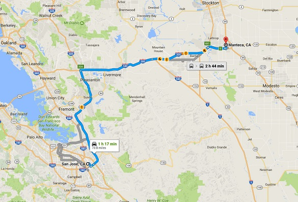The triangle UFO was seen over Manteca, CA, about 70 miles northeast of San Jose. (Credit: Google)