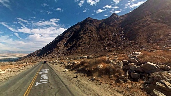 The witness noticed a helicopter hovering near the top of the mountain from his home in Palm Springs. Pictured: Palm Springs Tramway area. (Credit: Google)