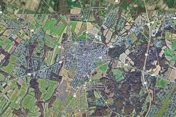 The witness estimates the object was moving over 800 mph and flying under 1,000 feet over Gettysburg, PA. (Credit: Google)