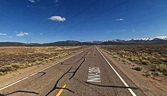 The witness first saw a bright light ahead about 1,000 yards that appeared to be hovering. Pictured: Near Austin, NV. (Credit: Google)