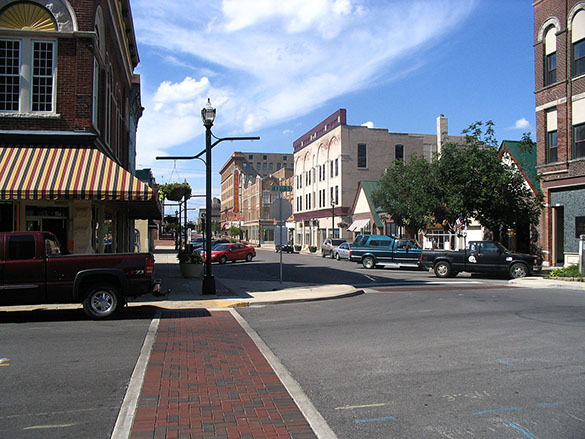 The witness said the object was as large as a football field moving overhead. Pictured: Downtown Anderson, IN. Credit: Wikimedia Commons
