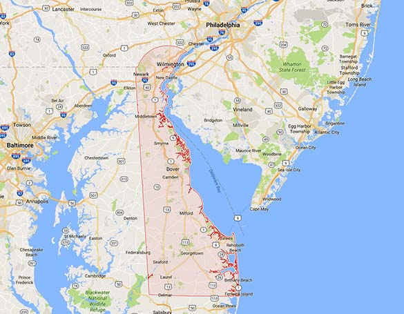 The object first looked like a plane as it moved over Dover, Delaware. (Credit: Google)