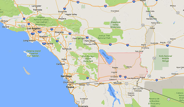 The witness was driving in rural Imperial County, CA, when the object was seen. (Credit: Google)