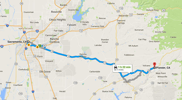 Pioneer is about 60 miles southeast of Sacramento. (Credit: Google)