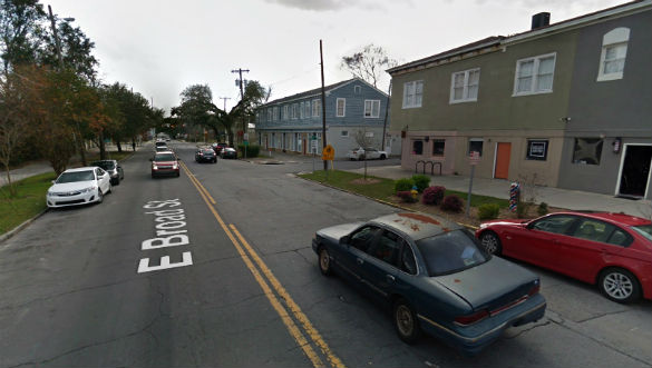 The witness described two hovering triangle objects while driving down East Broad Street in Savannah, GA, pictured. (Credit: Google)