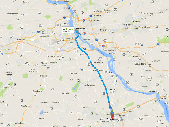 York is about 26 miles southeast of Harrisburg, PA. (Credit: Google)