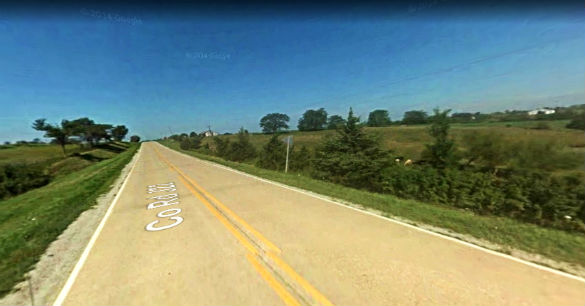 The witness first thought the object was a helicopter. Pictured: Rural area near Millerton, Iowa. (Credit: Google)
