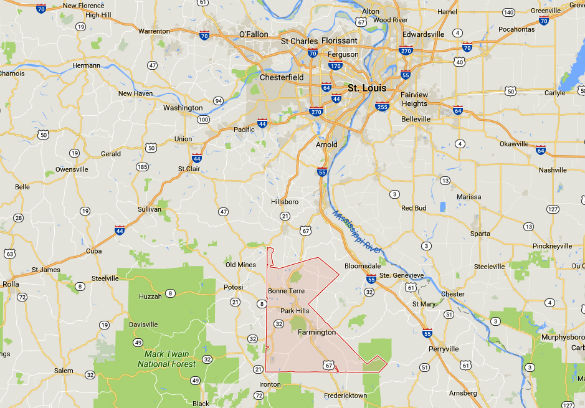 St. Francois County, MO, sits just south of the St. Louis area. (Credit: Google)