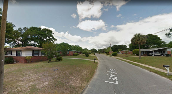 Two objects were seen hovering at the tree top level. Pictured: Milton, Florida. (Credit: Google)