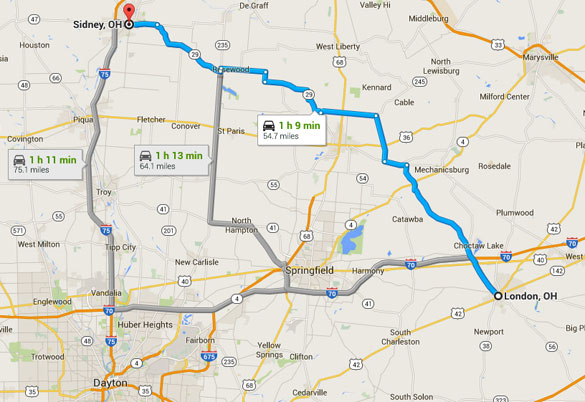 London, Ohio, is about an hour's drive southeast of Sidney, Ohio. (Credit: Google Maps)