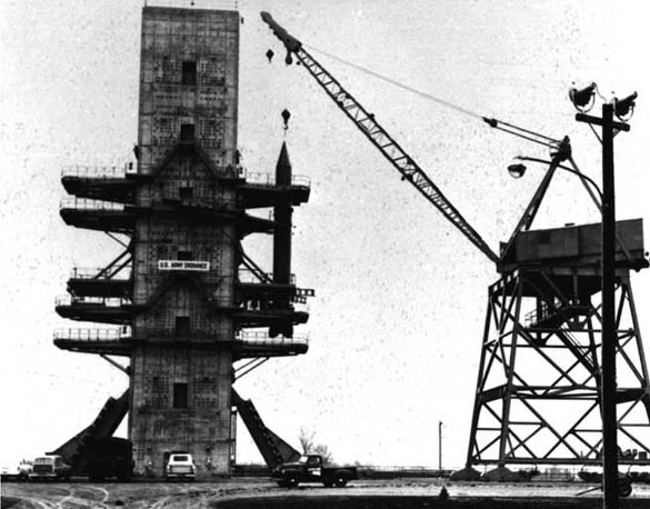 Construction pictured in 1953 of the largest static test stand in the United States for testing rocket motors was completed at Redstone Arsenal slated for use in the JUPITER program. (Credit: Wikimedia Commons)