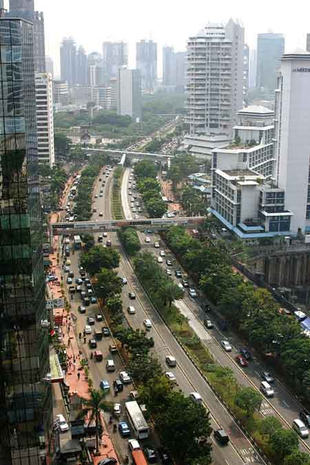 The witness was outside at a basketball court with family on July 17, 2015, when the object first came into view. Pictured: Jakarta's main avenue and business district. (Credit: Wikimedia Commons)