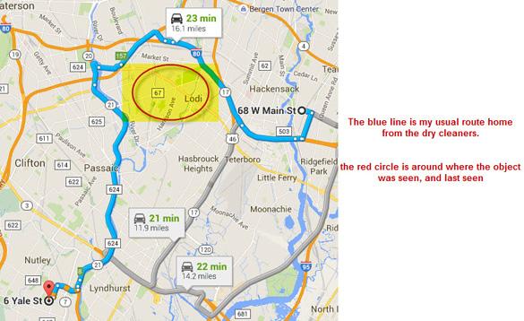 Target pertama adalah daerah Paterson-LODI dimulai sekitar 10:14 pada tanggal 10 Agustus 2015. (Kredit: Google Maps)