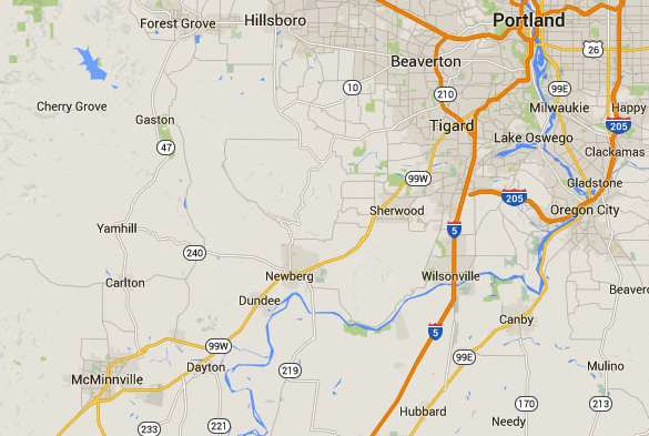 McMinnville is about 40 miles southwest of Portland, Oregon. (Credit: Google Maps)