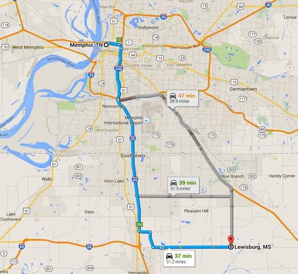 Lewisburg, MS, adalah sekitar 30 mil di tenggara Memphis, TN (Kredit: Google).