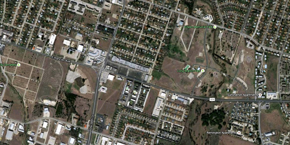 The witness first thought the object was a helicopter until driving closer toward it while driving along Rancier Avenue in Killeen, TX, near a park. (Credit: Google)