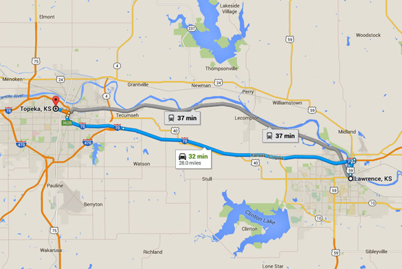 Lawrence, KS, is about 28 miles east of Topeka, KS. (Credit: Google)