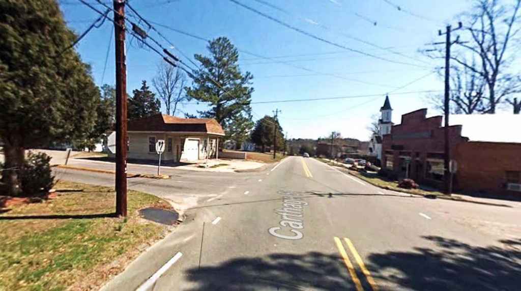 The witness tried to get the neighbor's to see the object, but the brightly lit UFO moved away too quickly. Pictured: Cameron, NC. (Credit: Google)