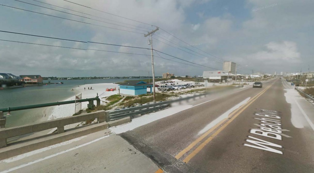 The object appeared to hover, but slowly pivoted to change to a more southern direction. Pictured: Gulf Shores, Alabama. (Credit: Google)